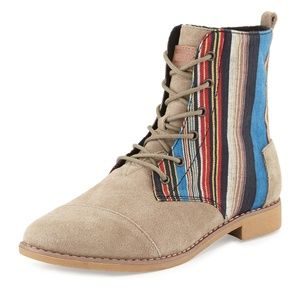 TOMS Natural Alboot Striped Ankle Boot Lace Up